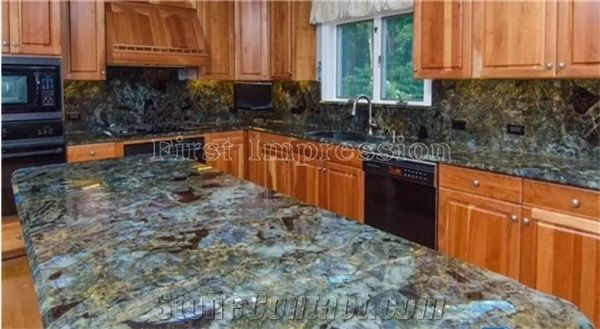 Luxury Labradorite Volga Blue Granite Countertops Ukraine