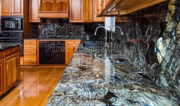 New Polished Labradorite Volga Blue Granite Countertops Ukraine Kitchen Worktops Bar Tops Desk Custom