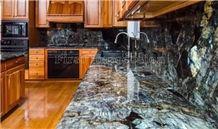 New Polished Labradorite Volga Blue Granite Countertops/Ukraine Blue Granite Kitchen Worktops/Kitchen Bar Tops/Kitchen Desk Tops/Custom Countertops/Kitchen Top/Bench Tops