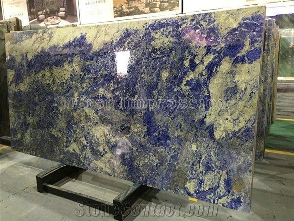 Polished Sodalite Royal Blue Granite Tiles Slabs Blue