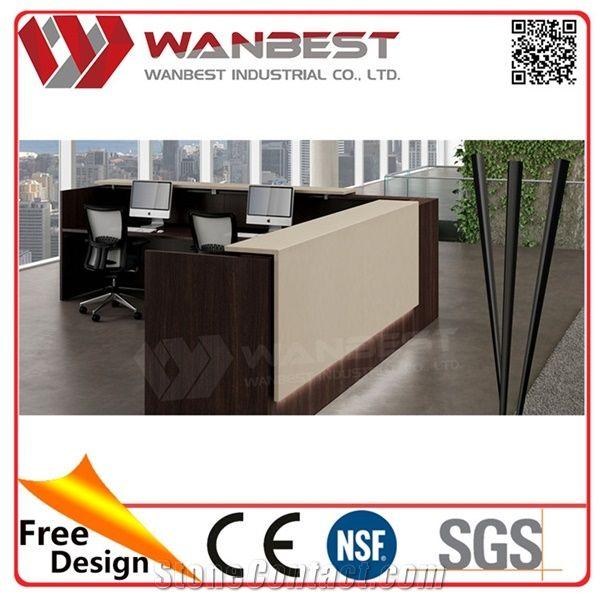 Home U003eu003e Tabletops Reception U003eu003e Custom Made Office Reception Counter Design  White Solid Surface Reception Desk With Wood Veneer