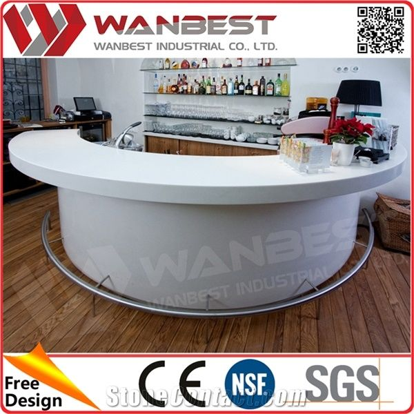 Counter White Solid Surface Curved Bar