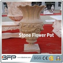 Stone Flower Pot, Stone Vase, Stone Flower Cups, Granite Decoration, Polished Stone Flower Pots