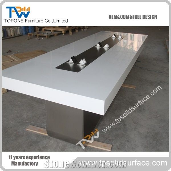 Chinese Factory Acrylic Solid Surface New Design Modern Conference - White marble conference table