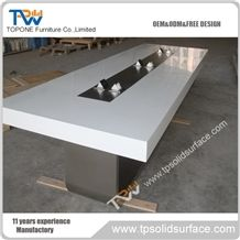 Chinese Factory Acrylic Solid Surface New Design Modern Conference Table for Artificial Marble Stone Office Furniture, White Artificial Marble Stone Office Meeting Tables Interior Stone Furniture