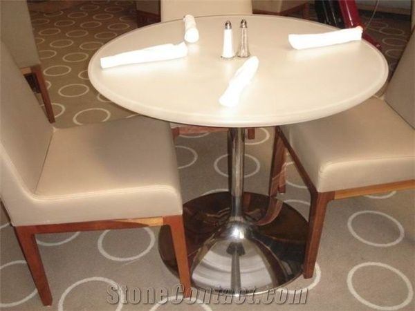 Corian Acrylic Solid Surface Round Dinning Tables And Chairs