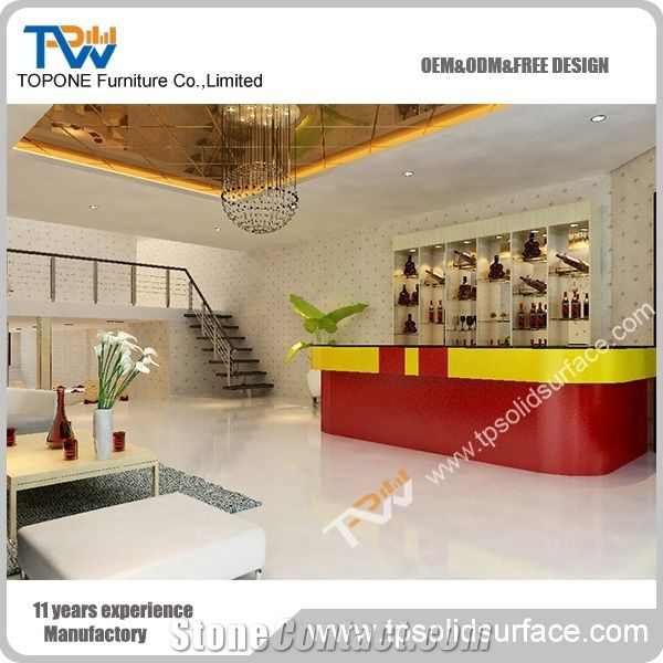 Modern Design Commercial Acrylic Solid Surface Wine Bar Counters Worktops For Artificial Marble Stone Desk Tops Furniture Manmade