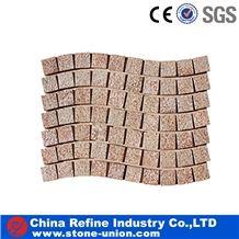 Beige Granite Cubestone Paving Stes, China Beige Granite Cobble Stone for Paving Outside in Mesh
