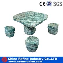 Nine Dragon Jade Marble Natural Tables and Chairs or Benches ,Exterior Outdoor Garden Landscape Street Patio Natural Stone Table Bench