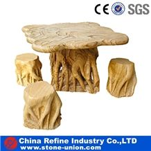 Yellow Marble Tree Shaped Stone Tables , Garden Table and Chairs Design , Hand Carving Stone Natural Marble Top Quality Rest Garden Table for Sale