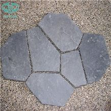 Black Slate Random Flagstones,Irregular Flagstones,Flagstone Patio,Walkway Pavers,Driveway,Black Slate Panels Tiles for Wall Cladding,Flooring Tiles,Outdoor Wall Tiles,Paving Stone