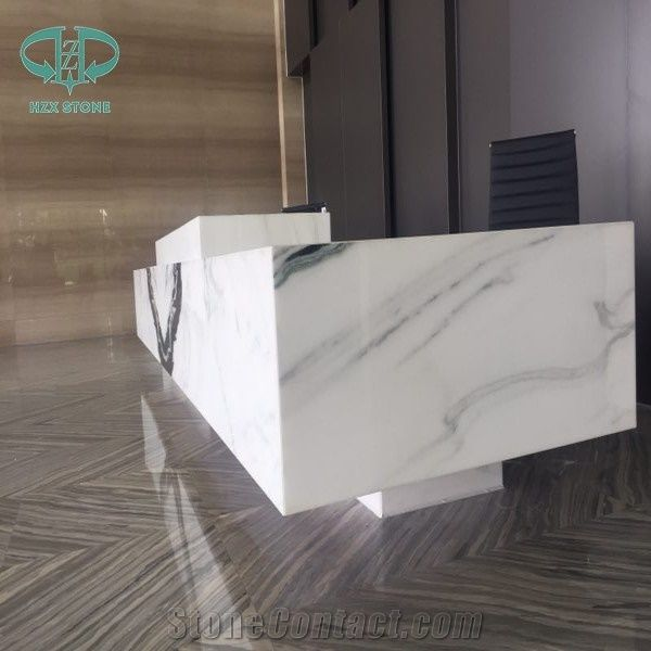 Chinese Panda White Marble Polished Reception Desk Top