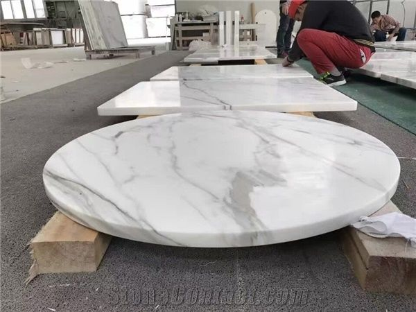 Merveilleux Calacatta White Marble Round Table Top,Polished White Mable Coffee U0026 Tea  Round Table Top