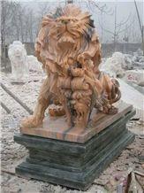 Colorful Lion Sculpture,Outside animal Scupture,Garden Lion Sculpture