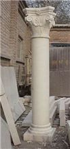 White Limestone Roman Columns Roman Pillar for Outdoor