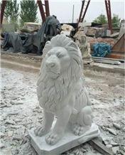 White Marble Lion Sculpture,Garden animals sculptures