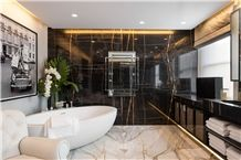 Sahara Noir Marble, Black and Gold Veins, Tunisian Marble, Slabs or Tiles, Suits for Bathroom, Bar, or Kitchen, Wall or Slabs or Tiles, Nice Price.