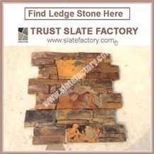 Cultured Stone Veneer, Slate Ledge Stone Walling,China Multicolor Slate Ledgestone
