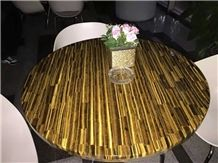 Yellow Tiger Eye Onyx Table Tops for Luxury Dining Table Decoration