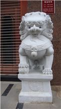 White Jade Marble Lion Sculpture
