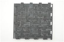 Yunnan Basalt Lava Black Honed Mosaic Tile