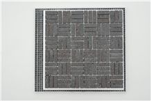 Yunnan Basalt Lava Stone Mosaic Tile Honed, China Black Basalt