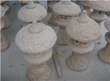 Yunnan Beige Sandstone Handmade Garden Decor for Landscaping, Garden Lanterns
