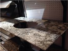 Ice Blue Granite Vanity Top, White Granite Bath Top, High Polished Stone Bathroom Top from China Factory