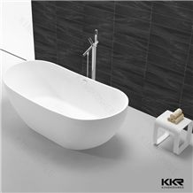 Big Size Dubai Style Man Made Solid Surface Oval Shaped Freestanding Stone Bathtubs