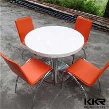 Big Size Round 4 Seater Artificial Stone Solid Surface Cheap Restaurant Dining Table Wholesale