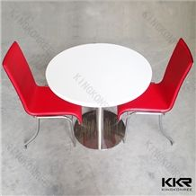 China Home Furniture & Restaurant High Gloss White Round Solid Surface Acrylic Table