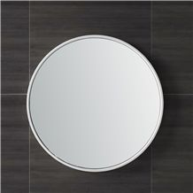 China Manufacture/Supplier/Exporter Chelsea Silk-Frame Wall & Accent White Matte Solid Surface Bath Mirror Frame with Safety Glass for Modern Bathroom Use