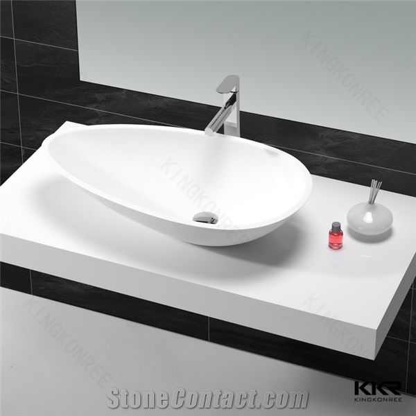 Corian Solid Surface Sink Resin Stone Wash Sink Oval Matt White Basin  Artificial Stone Solid Surface Bathroom Wash Hand Basin