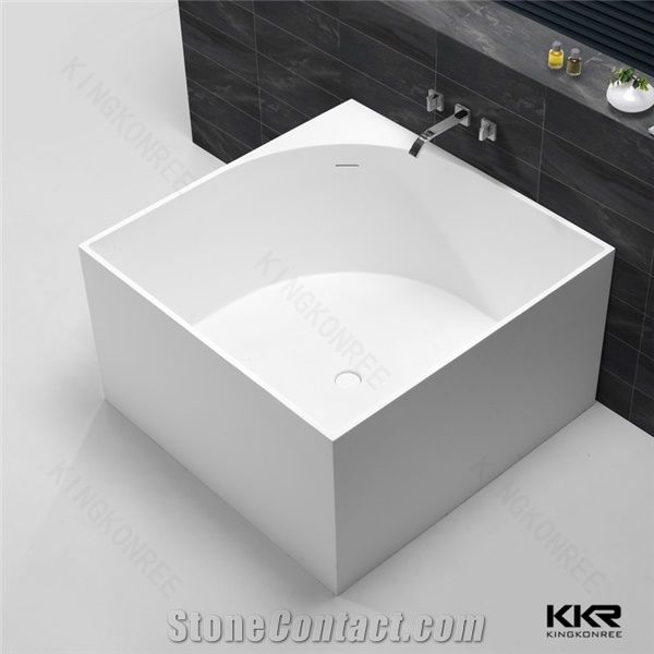 Custom Size Square Stone Free Standing Bath Tub From China