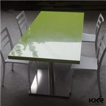 Glossy Green Best Quality Artificial Stone Solid Surface 4 Seater Dining Table and Chair