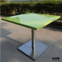 Glossy Green Square Resin Stone Cheap Solid Surface Fast Food Dining Table and Chair