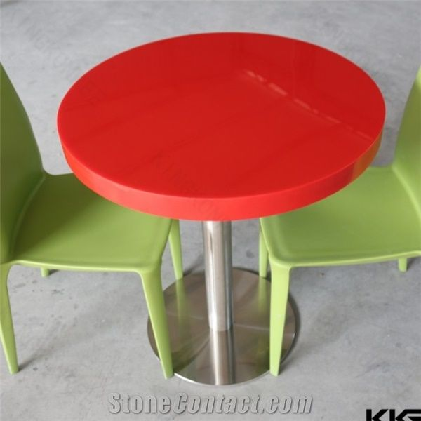 Glossy Red Round Restaurant Dining Table, Acrylic Solid