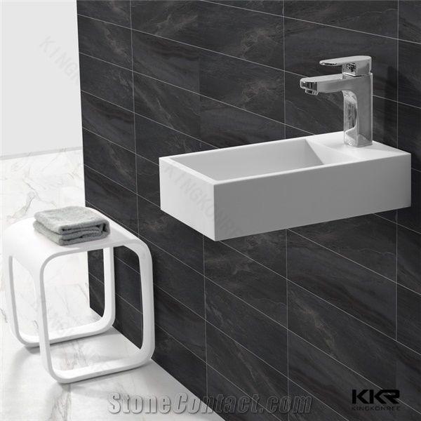 High Quality Easy Clean Bathroom White Artificial Stone Wash Basin