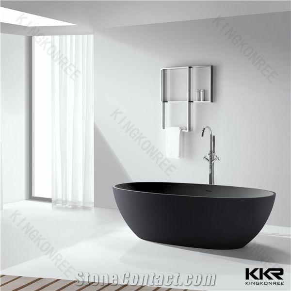 Kingkonree Brand Modern Pure Black Small River Stone Bathtub ...