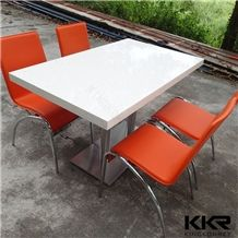 Kingkonree China Supplier Customized Modern Acrylic Solid Surface Dining Table Restaurant Table