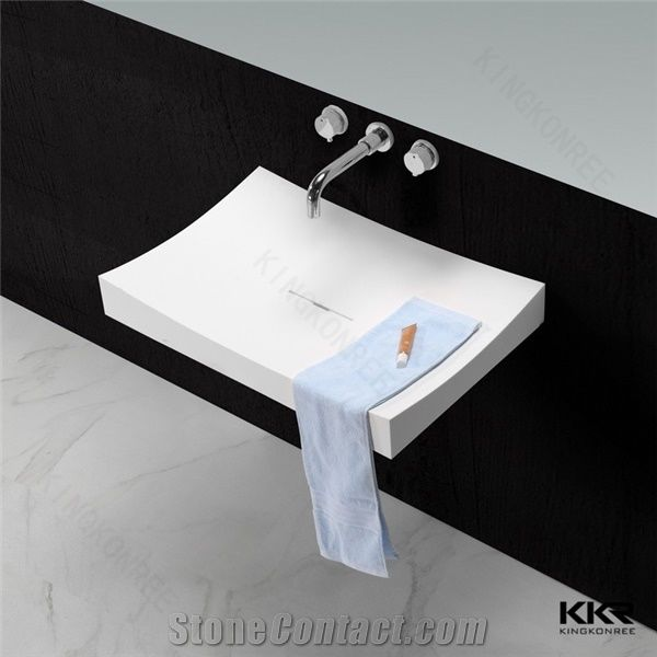 Kkr New Design White Matt Rectangle Corian Acrylic Stone Wall