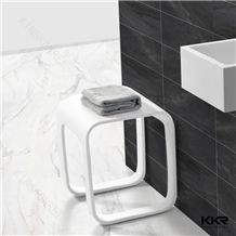 Latest Design Popular in Ameriac Kkr White Clear Corian Dupont Acrylic Solid Surface Bath Shower Stool for Hotel /Modern Bathroom Use Provide by China Professional Manufacture with Ce/Sgs Approval