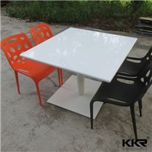 Modern 4 Seater Corian Solid Surface Stone White Dinner Table with Chairs