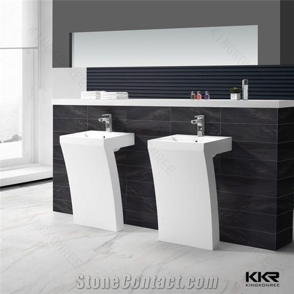 Modern Bathroom Sinks White Stone Pedestal Basin Hot Sale