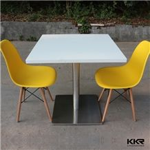 Modern Pure White Square Hot Sale Acrylic Solid Surface Dining Table and Chair