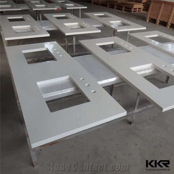 Prefabricated Sparkle White Commercial Double Sink Bathroom