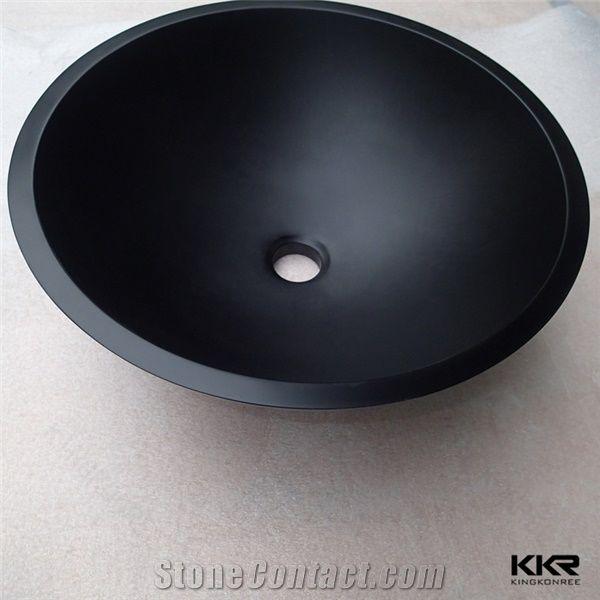 Pure Black Round Wash Basin Smal Bathroom Rectangle