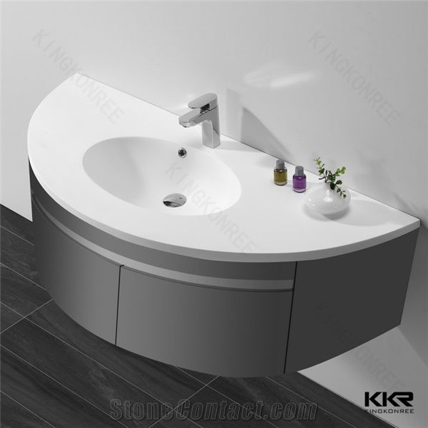 Small Size Cabinet Design Hand Wash Basin Sink White Solid