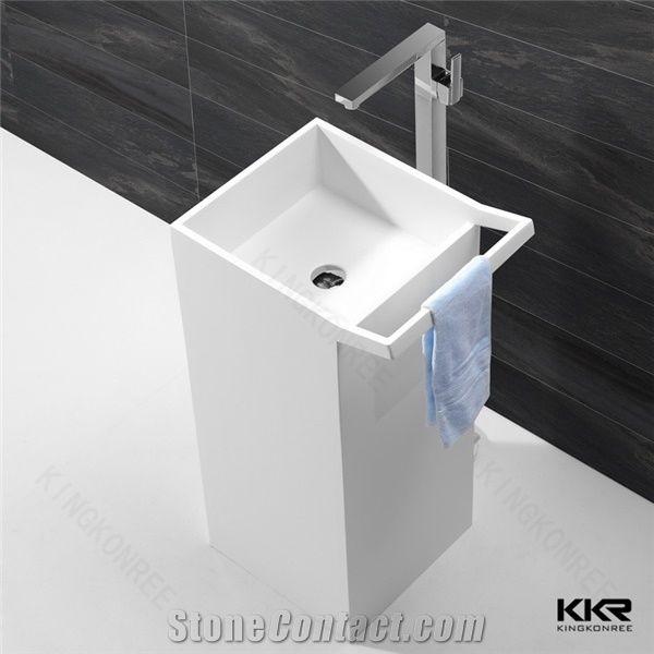 Snow White Bathroom Sink Portable Pedestal Basin Floor