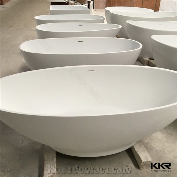 Square Freestanding Used Bathtub, Solid Surface White Artificial ...